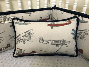 Vintage Airplane with Navy Accent Pillow