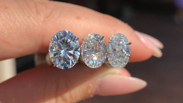 Oval Moissanite and Diamond Comparison