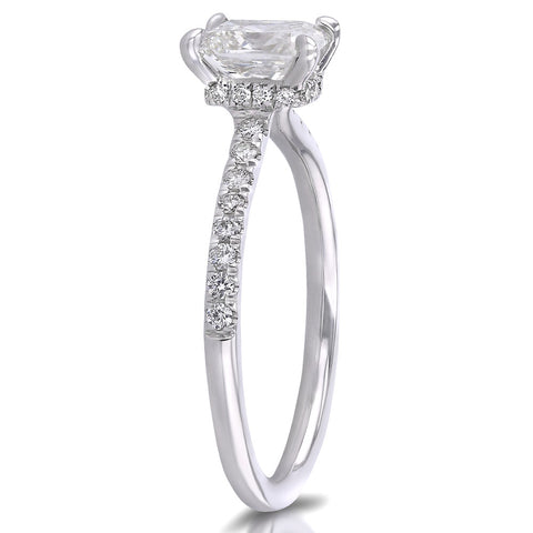 Elongated Cushion Engagement Ring Side View