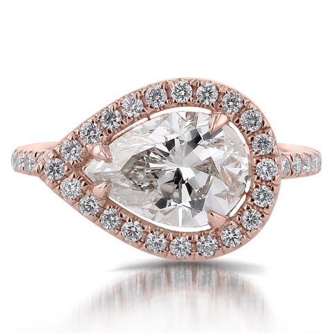 Custom Rose Gold East West Pear Engagement Ring