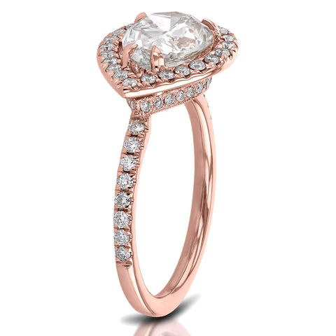 Custom Rose Gold East Weat Pear Engagement Ring Side View