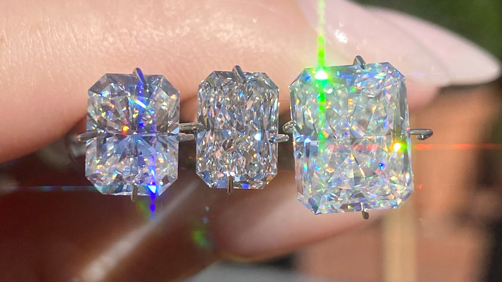Radiant Moissanite and Diamond Comparison in Daylight