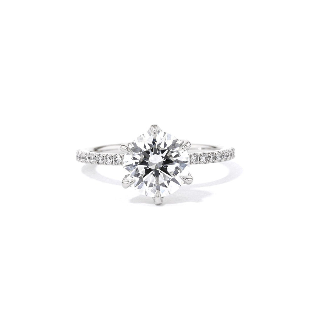 1.4mm Caraline Round Engagement Rings Princess Bride Diamonds 3 14K White Gold