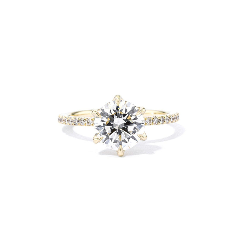 1.4mm Caraline Round Engagement Rings Princess Bride Diamonds 3 14K Yellow Gold