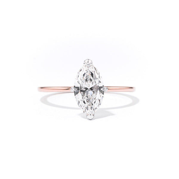 1.4mm Juliette Marquise Solitaire Engagement Rings Princess Bride Diamonds 3 14K Rose Gold
