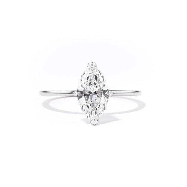 1.4mm Juliette Marquise Solitaire Engagement Rings Princess Bride Diamonds 3 14K White Gold