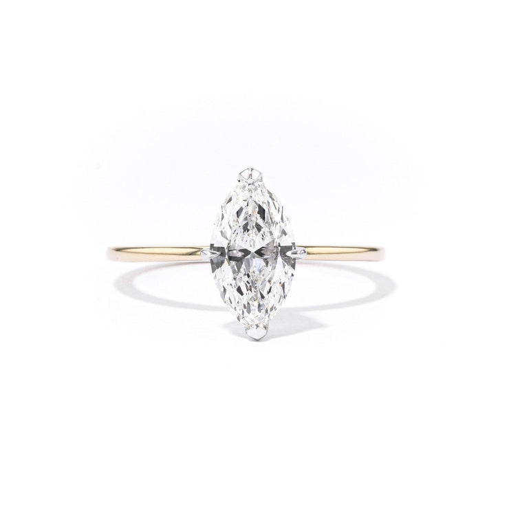 1.4mm Juliette Marquise Solitaire Engagement Rings Princess Bride Diamonds 3 14K Yellow Gold