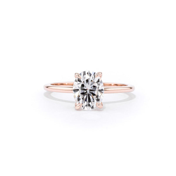 1.5mm Juliette Oval Solitaire Engagement Rings Princess Bride Diamonds 3 14K Rose Gold