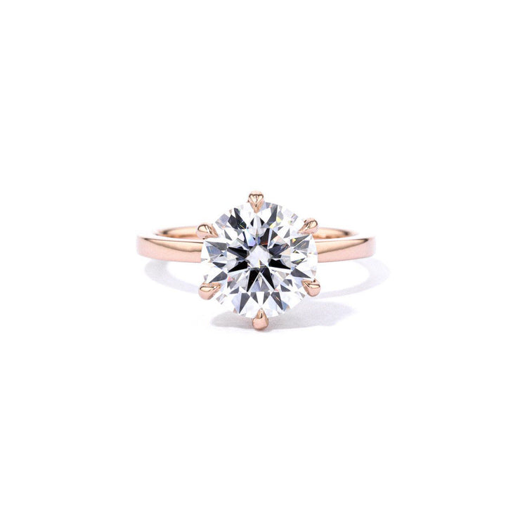 1.6mm Kayla Round High Polish Engagement Rings Princess Bride Diamonds 3 14K Rose Gold