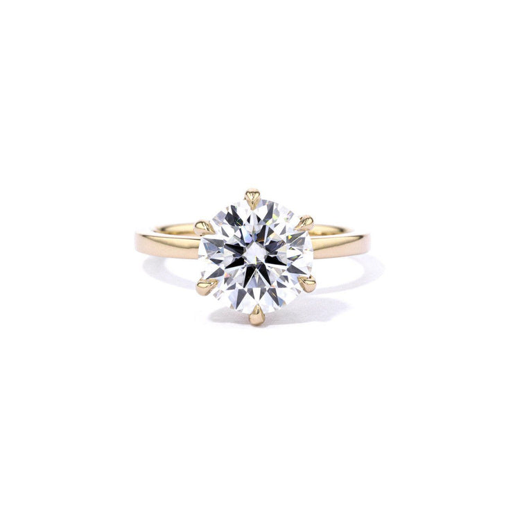 1.6mm Kayla Round High Polish Engagement Rings Princess Bride Diamonds 3 14K Yellow Gold