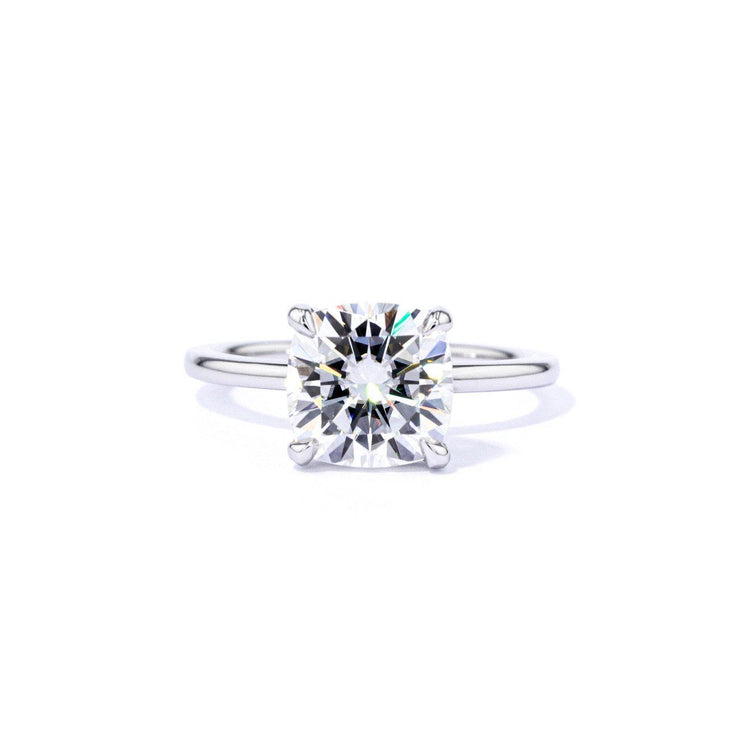 1.6mm Leah Cushion High Polish Engagement Rings Princess Bride Diamonds