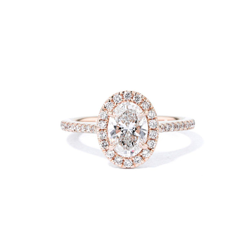 1.6mm Lynn Oval Engagement Rings Princess Bride Diamonds 3 14K Rose Gold