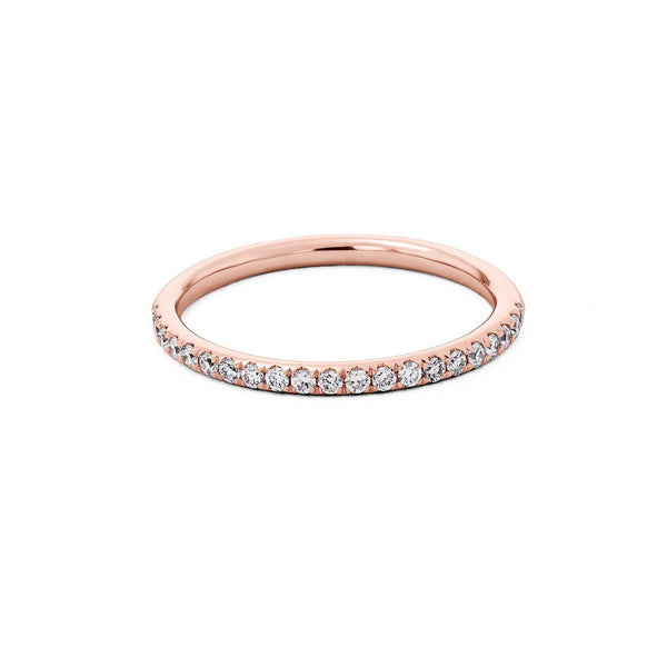 1.6mm Pavé Diamond Ring Ring Princess Bride Diamonds 3 14K Rose Gold