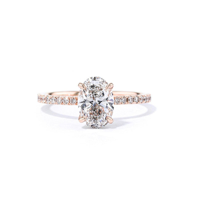 1.6mm Stephanie Oval Engagement Rings Princess Bride Diamonds 3 14K Rose Gold