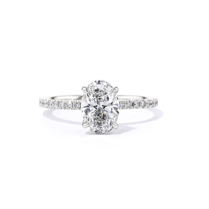 1.6mm Stephanie Oval Engagement Rings Princess Bride Diamonds 3 14K White Gold