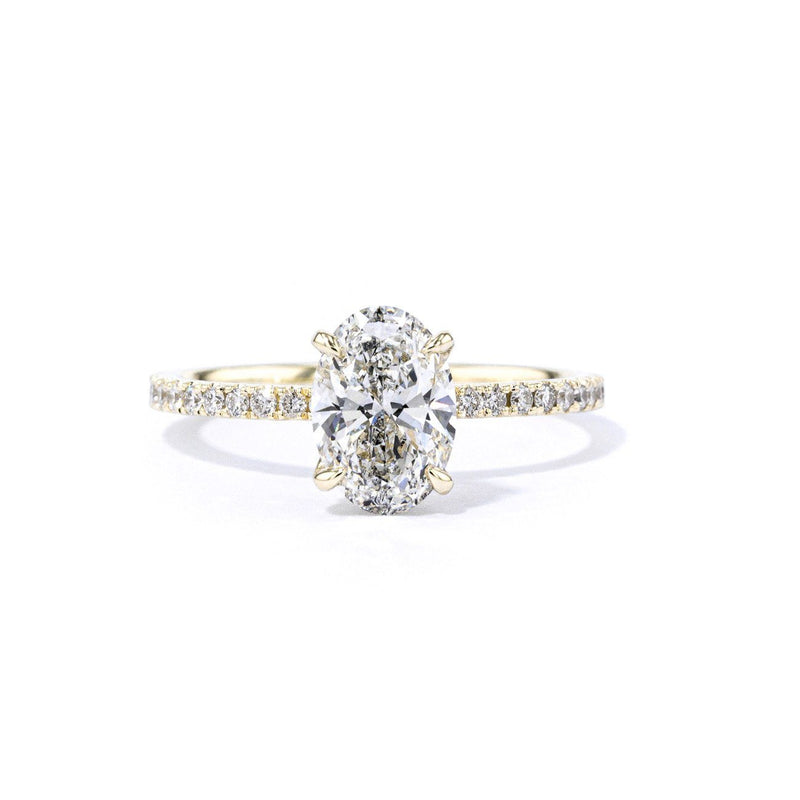 1.6mm Stephanie Oval Engagement Rings Princess Bride Diamonds 3 14K Yellow Gold