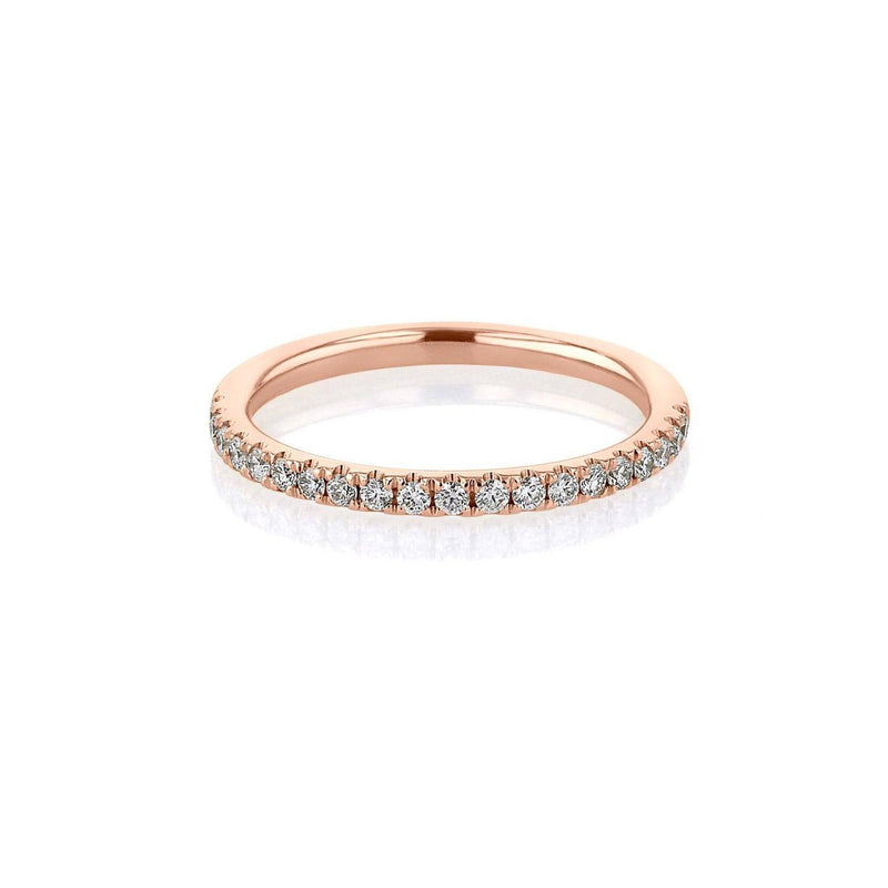 1.8mm Pavé Diamond Ring Ring Princess Bride Diamonds 3 14K Rose Gold