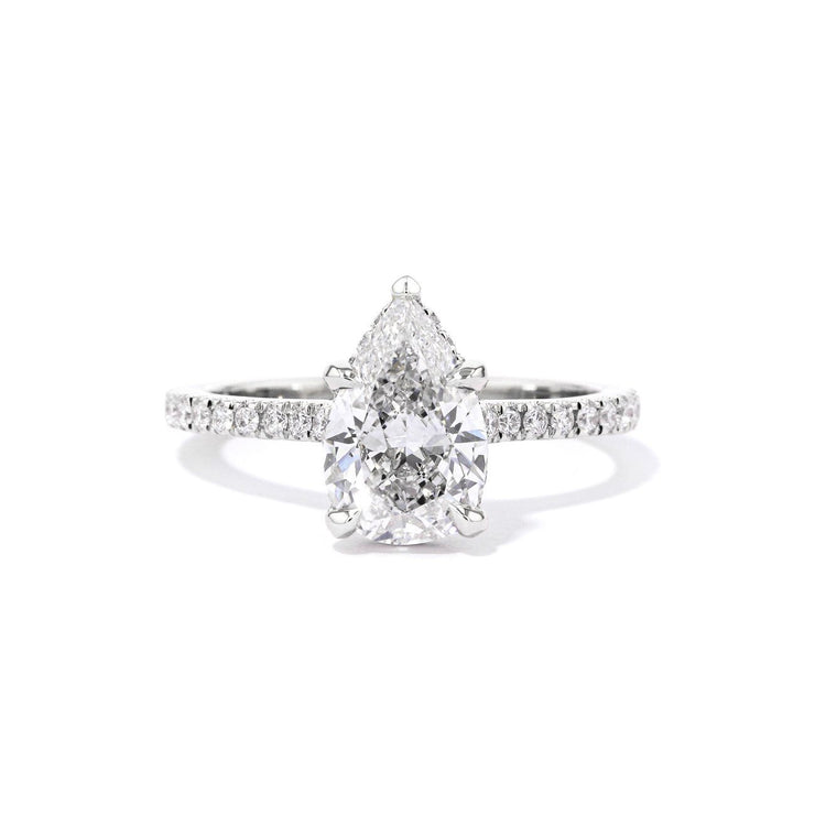 1.8mm Stella Pear Engagement Rings Princess Bride Diamonds 3 14K White Gold