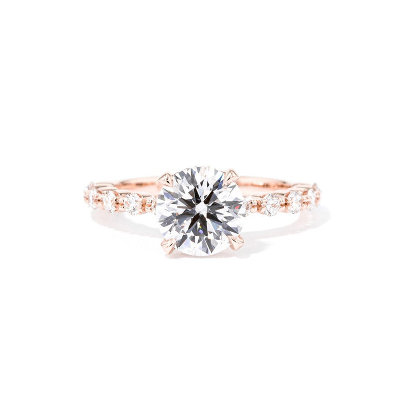 2.0mm Mia Round Engagement Rings Princess Bride Diamonds 3 14K Rose Gold