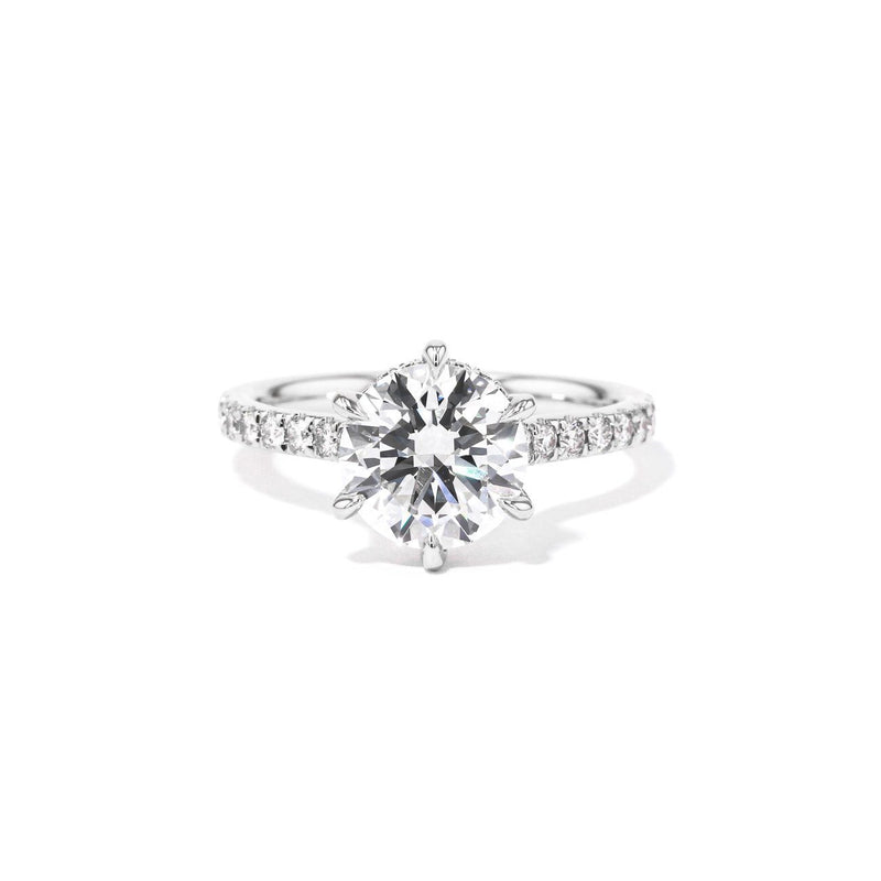 2mm Nicole Round Engagement Rings Princess Bride Diamonds 4 14K White Gold