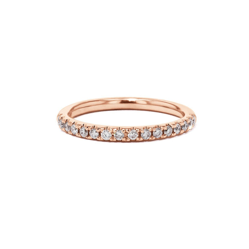 2mm Pavé Diamond Ring Ring Princess Bride Diamonds 3 14K Rose Gold