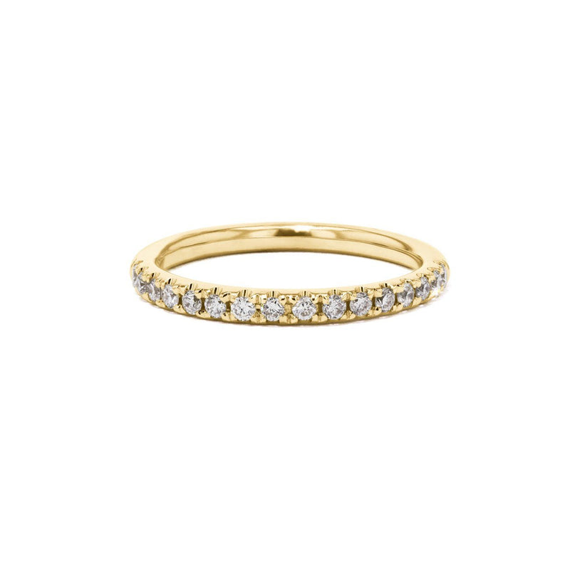 2mm Pavé Diamond Ring Ring Princess Bride Diamonds 3 14K Yellow Gold