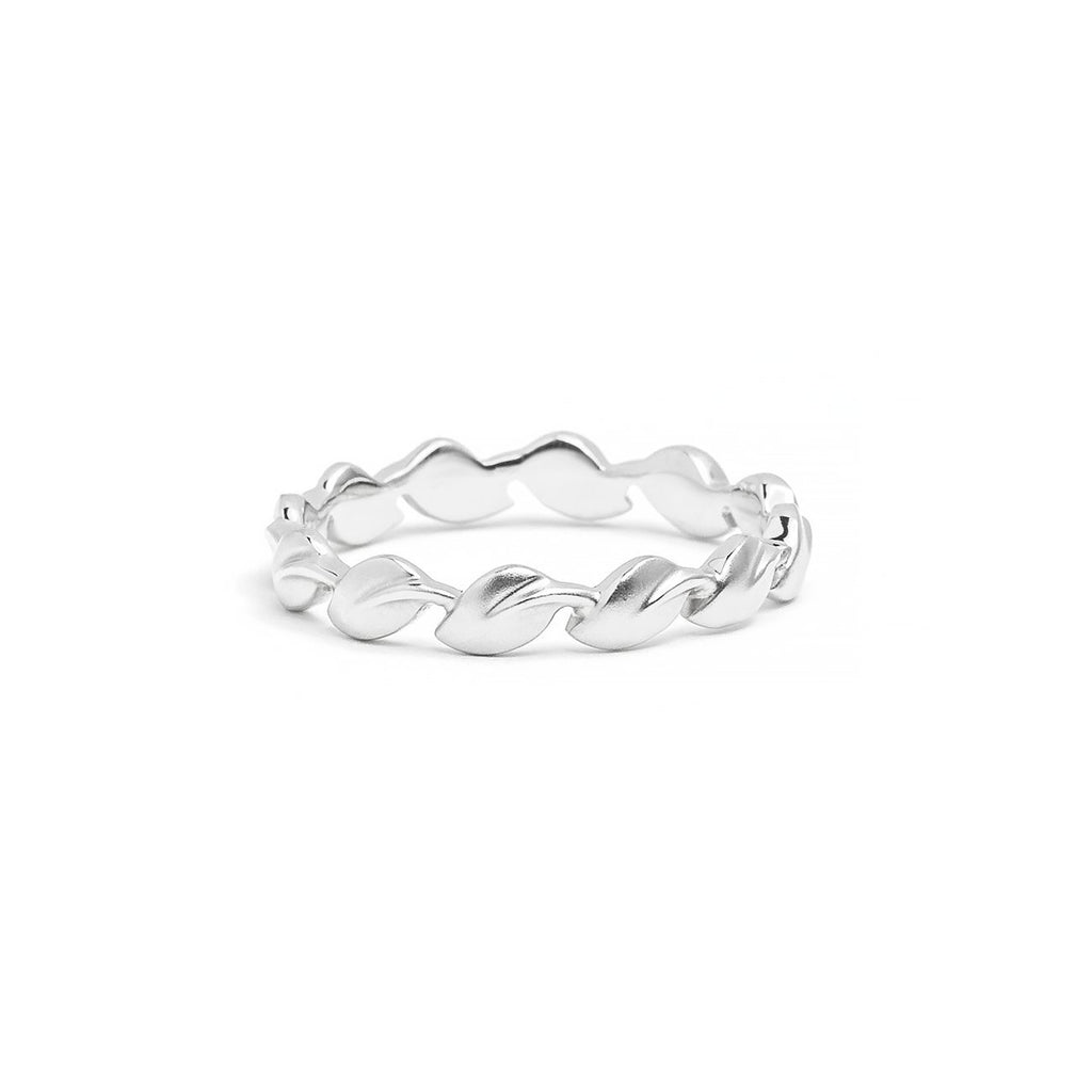 3.2mm Lyria Leaf Band Ring Princess Bride Diamonds 3 18K White Gold