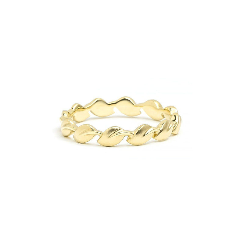 3.2mm Lyria Leaf Band Ring Princess Bride Diamonds 3 18K Yellow Gold