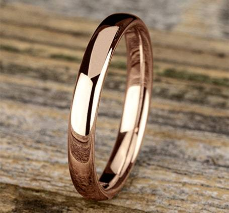 3.5mm Euro Comfort Fit Band Ring Princess Bride Diamonds 6 14K Rose Gold