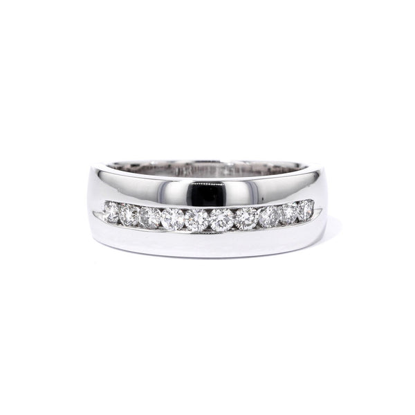 7.5mm White Gold Channel Diamond Band Ring Princess Bride Diamonds