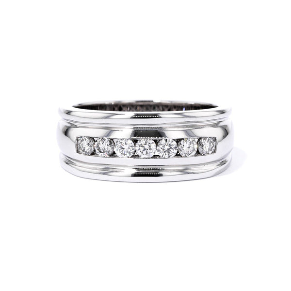 9.4mm White Gold Channel Diamond Band Ring Princess Bride Diamonds