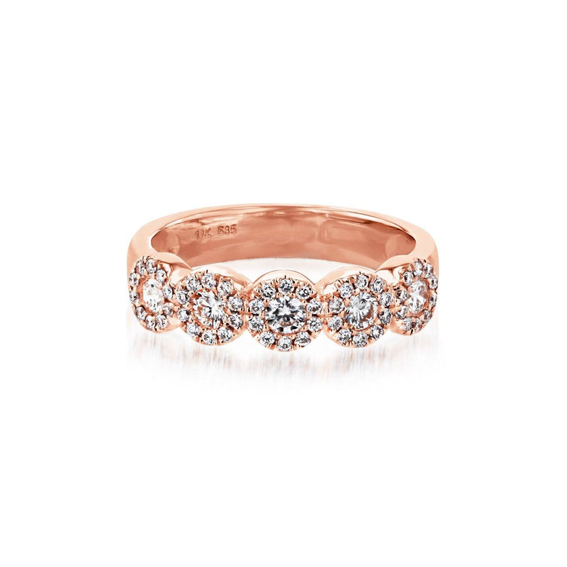 Alexis 5-Stone Halo Diamond Ring Ring Princess Bride Diamonds 3 14K Rose Gold