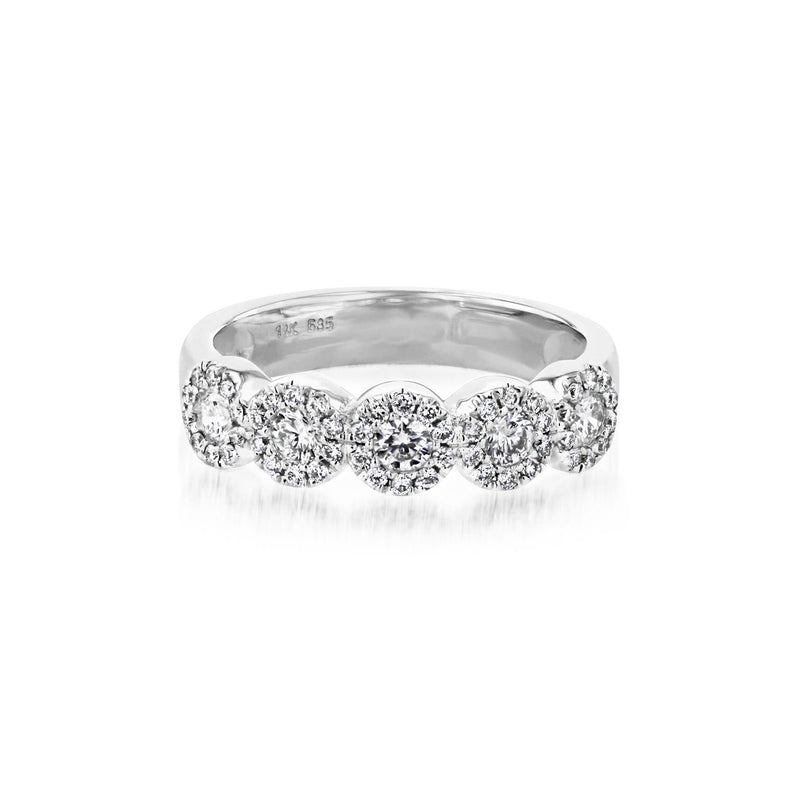 Alexis 5-Stone Halo Diamond Ring Ring Princess Bride Diamonds 3 14K White Gold