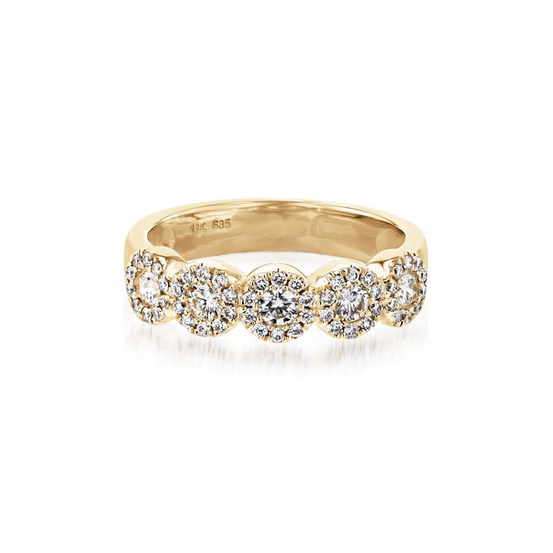 Alexis 5-Stone Halo Diamond Ring Ring Princess Bride Diamonds 3 14K Yellow Gold