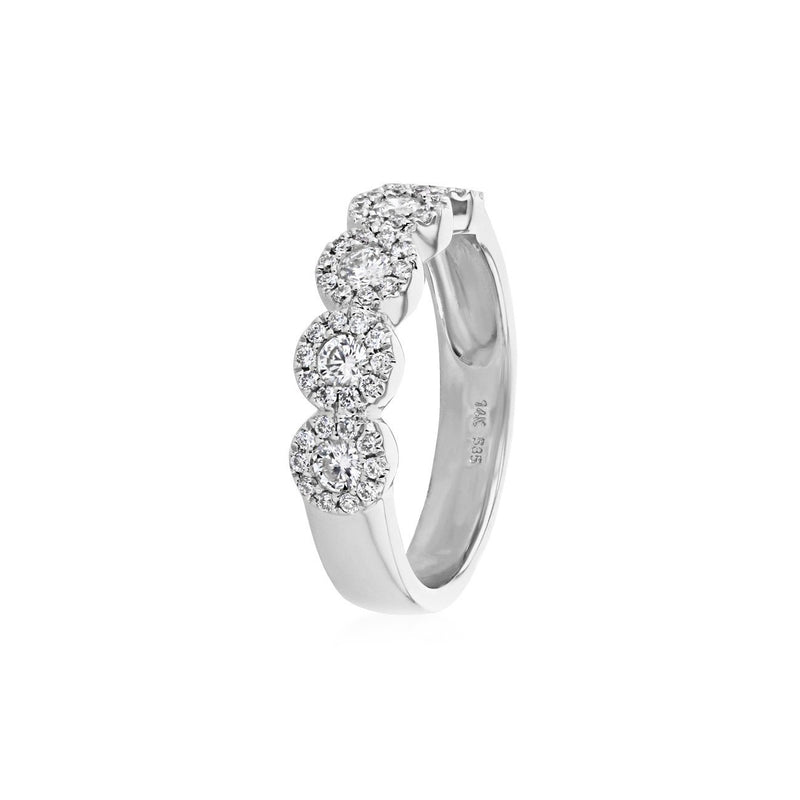 Alexis 5-Stone Halo Diamond Ring Ring Princess Bride Diamonds