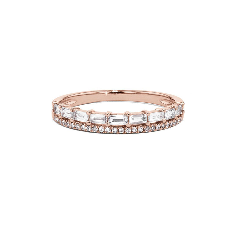 Baguette and Pavé Diamond Ring Ring Princess Bride Diamonds 3 14K Rose Gold