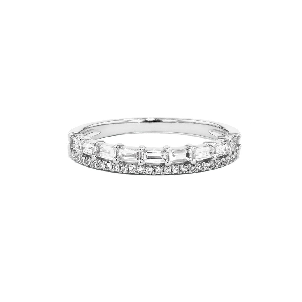 Baguette and Pavé Diamond Ring Ring Princess Bride Diamonds 3 14K White Gold