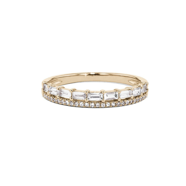 Baguette and Pavé Diamond Ring Ring Princess Bride Diamonds 3 14K Yellow Gold