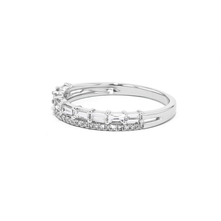 Baguette and Pavé Diamond Ring Ring Princess Bride Diamonds