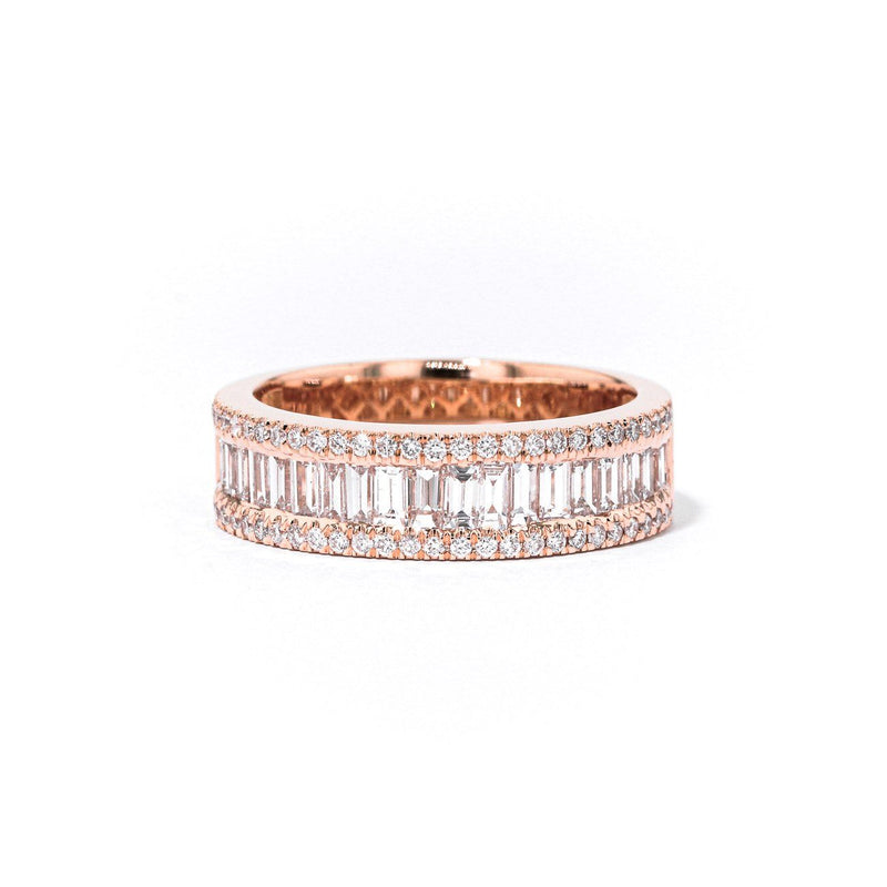 Baguette and Round Diamond Ring Ring Princess Bride Diamonds 3 18K Rose Gold