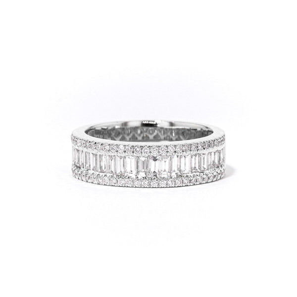 Baguette and Round Diamond Ring Ring Princess Bride Diamonds 3 18K White Gold