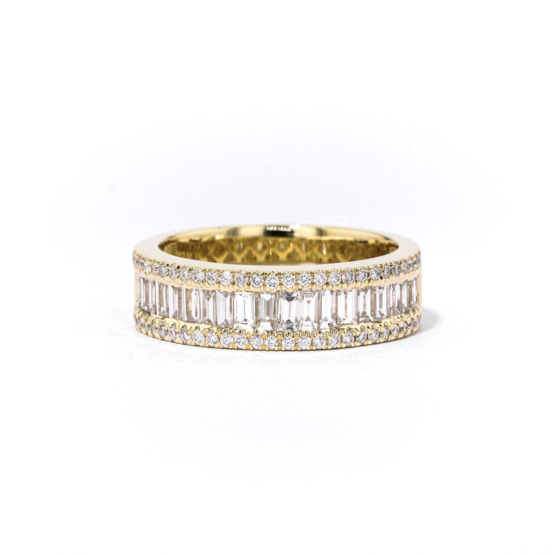Baguette and Round Diamond Ring Ring Princess Bride Diamonds 3 18K Yellow Gold