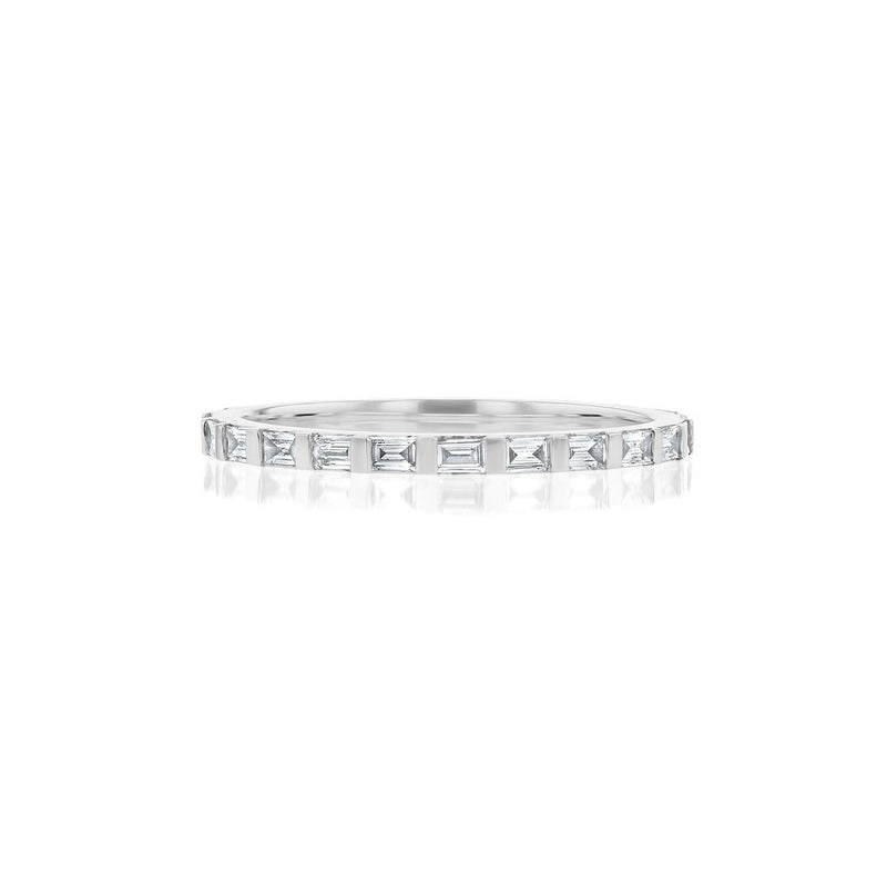 Baguette Eternity Diamond Ring Ring Princess Bride Diamonds 3 14K White Gold