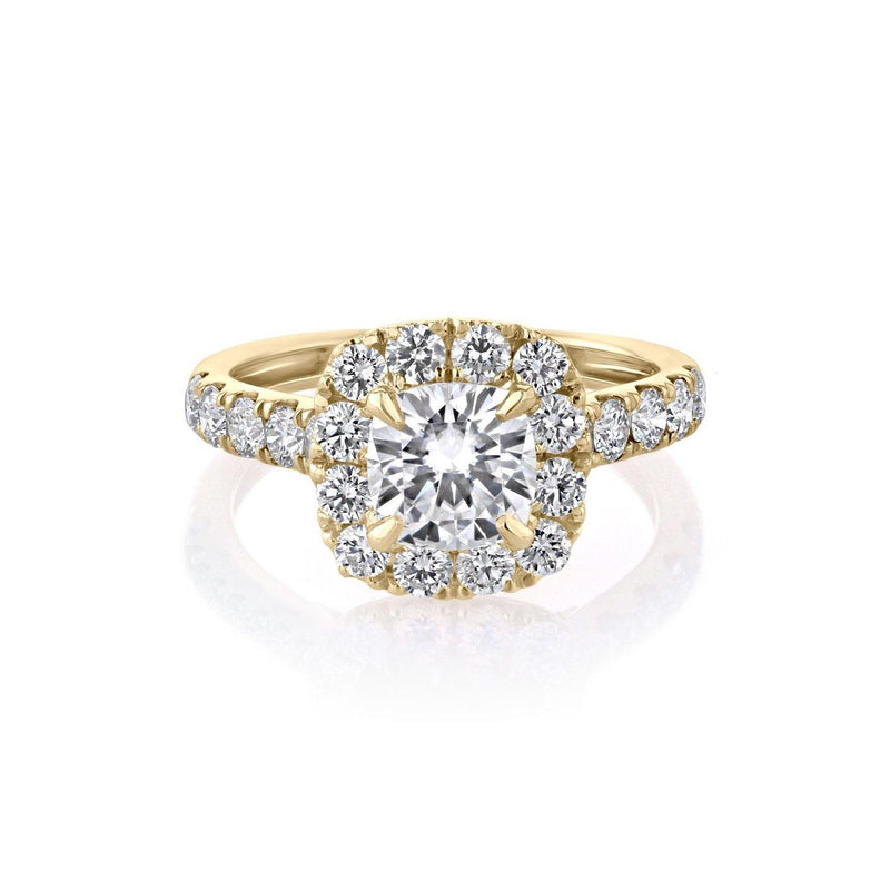 Bella Cushion Engagement Rings Sarah Nicole 3 18K Yellow Gold