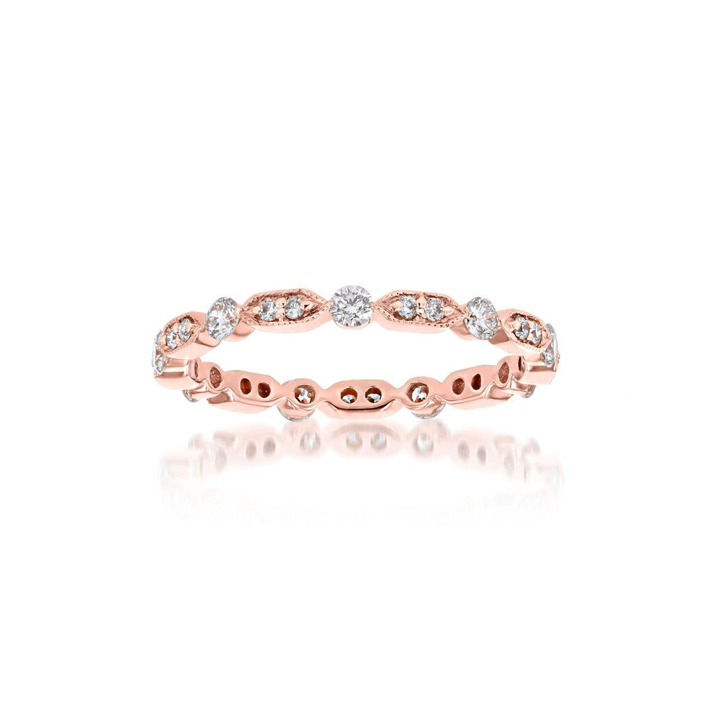 Belle Eternity Diamond Stackable Ring Ring Princess Bride Diamonds 3 14K Rose Gold