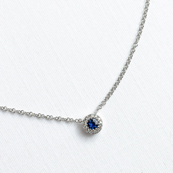 Blue Sapphire & Diamond Halo Necklace Necklaces Princess Bride Diamonds