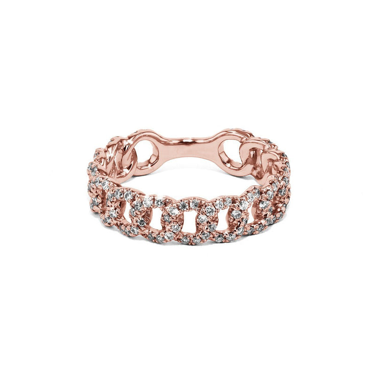Chain Link Diamond Ring Ring Princess Bride Diamonds 3 14K Rose Gold