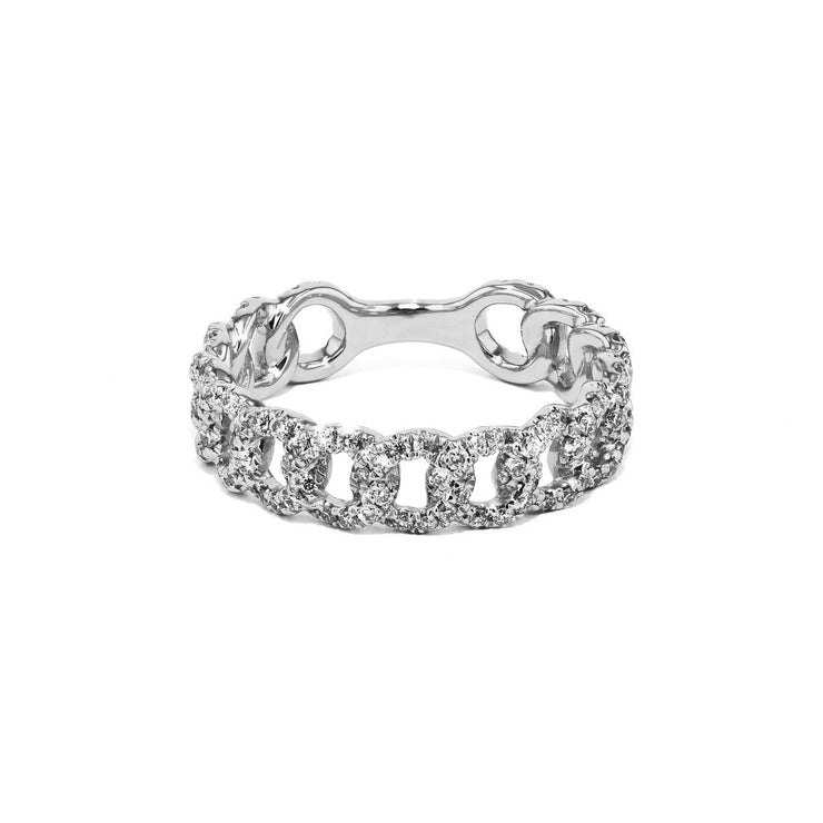 Chain Link Diamond Ring Ring Princess Bride Diamonds 3 14K White Gold