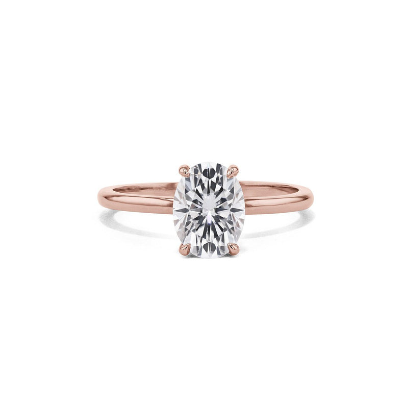 Cindie Oval Solitaire Engagement Rings Princess Bride Diamonds 3 14K Rose Gold