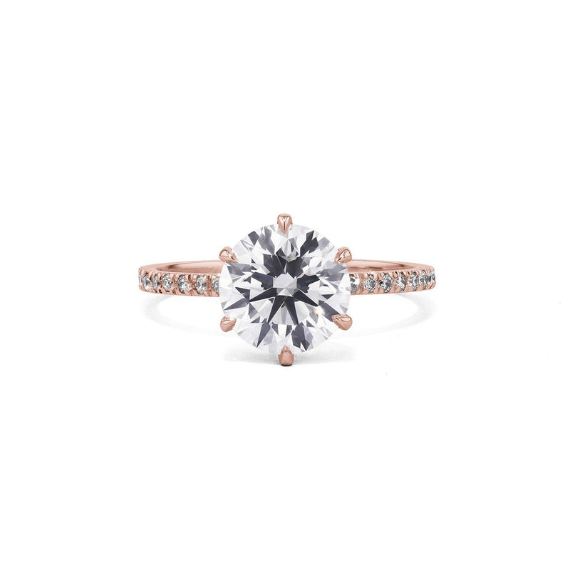 Cindie Round Engagement Rings Princess Bride Diamonds 3 14K Rose Gold